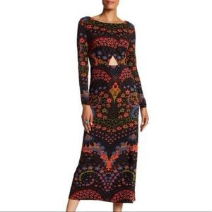 Free People Far Out Printed Maxi Dress in Black